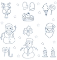 Flat christmas object of doodle vector image