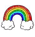 doodle crayon rainbow cloud hearts sun vector image vector image
