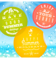 Stickers with summer vacation and travel emblems vector image