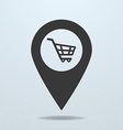Map pointer with a shopping cart symbol vector image