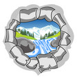 hole with type on nature vector image