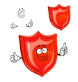 Cartoon protective red shield character vector image vector image