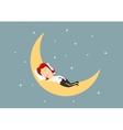 Businesswoman sleeping on golden moon vector image