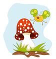 Cartoon butterfly and a mushroom over blue sky vector image