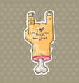 cartoon hand with tattoo vector image