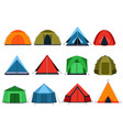 Different tourists tents for camping vector image
