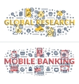 Global Research and Mobile Banking headings vector image