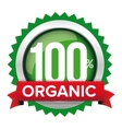 Organic badge with red ribbon vector image