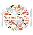 sea food label vector image
