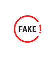 simple red fake sign vector image