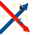 Growth decline Businessmen hold for growing top vector image