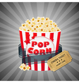 Grey Grungy Background With Popcorn And Tickets vector image vector image