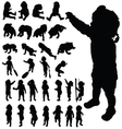 baby cute posing black silhouette vector image