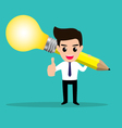 Business man get idea from his lightbulb pencil vector image