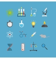 Graphic set chemical laboratory science flat vector image