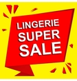 Sale poster with LINGERIE SUPER SALE text vector image
