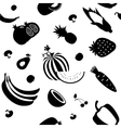 Seamless fruit and vegetable pattern vector image