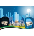 Arab women and the ancient Palace on a background vector image