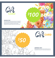 gift cards with flowers vector image vector image