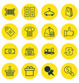 set of 16 commerce icons includes e-trade vector image