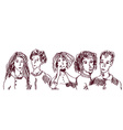 Set of people hand drawn sketch - old and young vector image vector image