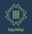 Happy holidays festive Card monograms style vector image