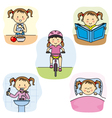 The daily activities of a girl vector image