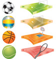 football basketball volleyball tennis field and vector image