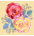 Peach pink red roses small bouquet vector image vector image