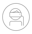 Man wearing virtual reality headset line icon vector image