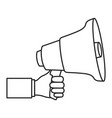 monochrome silhouette of hand holding megaphone vector image