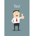 Positive businessman giving a thumbs up vector image