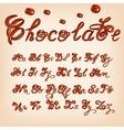 melted chocolate alphabet Shiny glazed vector image