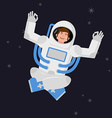 Yoga Space astronaut meditating in open space vector image