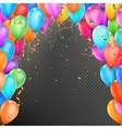 Balloons confetti and red gold ribbons EPS 10 vector image vector image