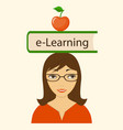 book e-learning on the head vector image