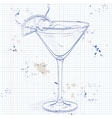 Cocktail Whiskey sour on a notebook page vector image