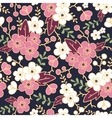 Night garden sakura blossoms seamless pattern vector image