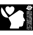 Open Mind Love Heart Icon with Tools Bonus vector image