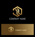polygon 3d abstract building gold logo vector image