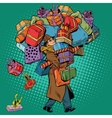 Man with shopping in holiday sale vector image vector image