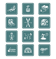Skiing resort icons - TEAL series vector image