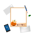 Happy Halloween Postcard and Envelope with Pencil vector image
