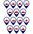 Badges with frigates and corvettes vector image vector image