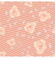 Cream pink roses and chevron seamless pattern vector image vector image