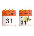 Halloween on icons of calendar vector image