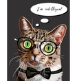 Hand drawn portrait of Cat with glasses and bow vector image