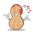 listening music peanut character cartoon style vector image