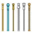realistic detailed 3d clothes metal zipper set vector image
