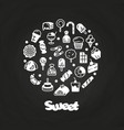 sweet desserts cakes candies icons on chalkboard vector image